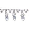Rhinestone Trim Navette By Yard 15mm Crystal /Silver
